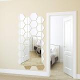 12PCS Geometry Hexagon Door Room Acrylic Decorative Mirror Wall Stickers