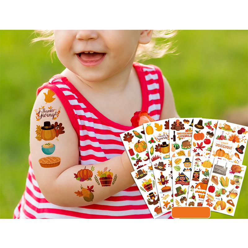 10 Sheets Thanksgiving Day Party Supplies Art Temporary Tattoos for Kids