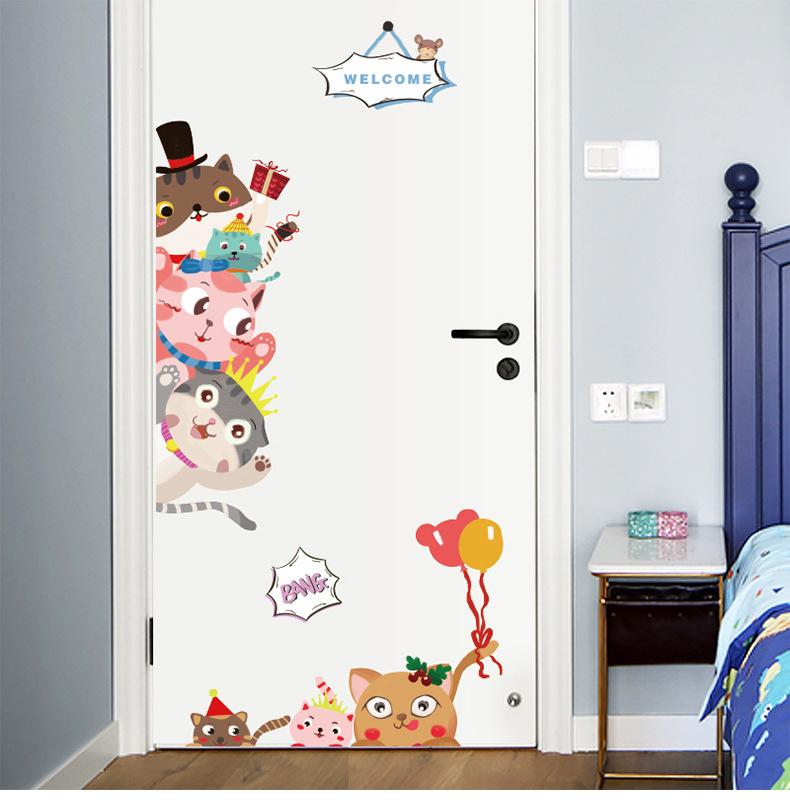 Animal Cats Door Stickers Children's Room Kindergarten Classroom Waterproof Decorative Wall Stickers