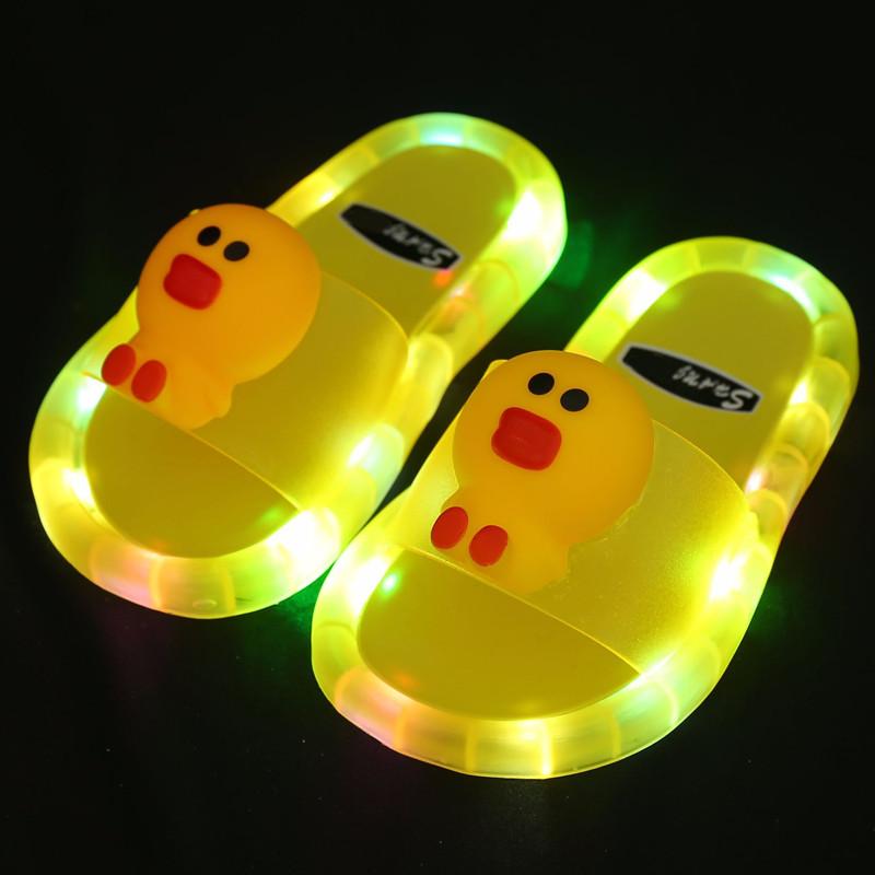Toddlers Kids Cartoon Luminous Shining Light Duck Flat Beach Summer Slippers