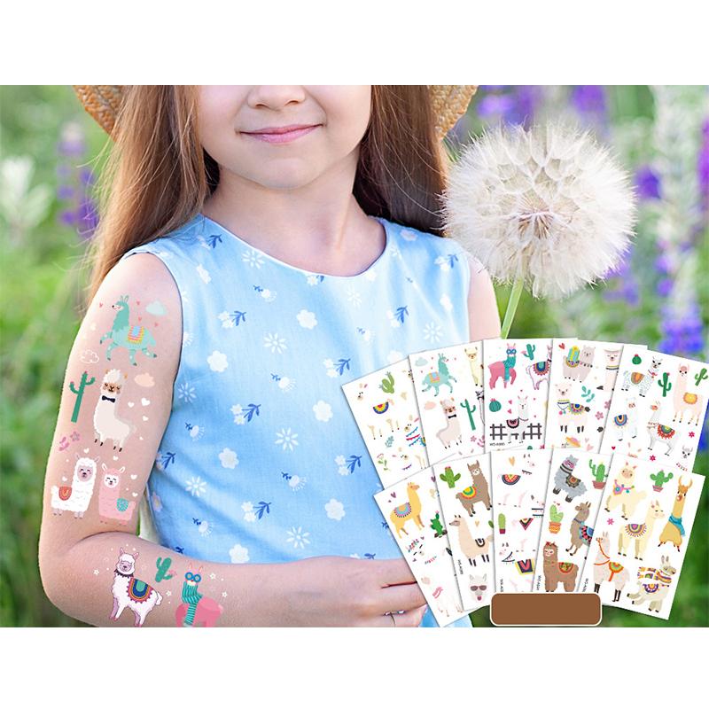 10 Sheets Alpaca Sheep Party Supplies Art Temporary Tattoos for Kids
