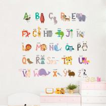 Animals Alphabet Door Room Waterproof Decorative Wall Stickers