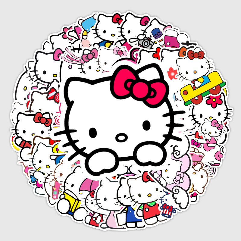 50PCS Doraemon HelloKitty Waterproof Stickers Decals for Luggage Laptop Water Bottles