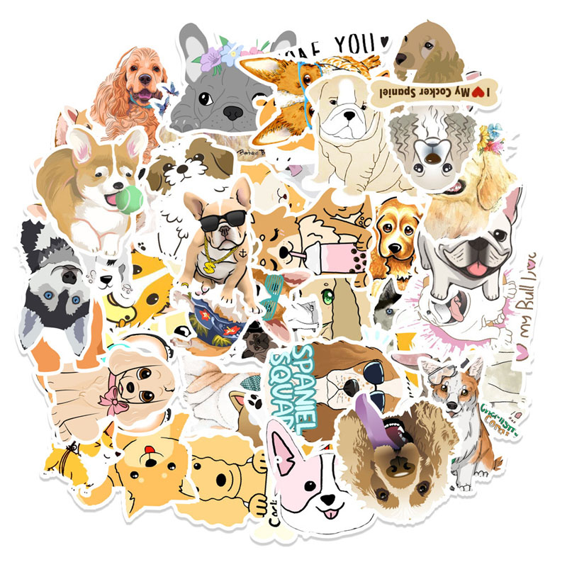 50PCS Cute Dog Husky Corgi Waterproof Stickers for Luggage Laptop Water Bottles