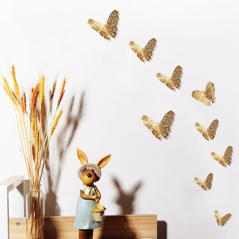 12PCS Single-Deck Hollow Out Butterfly Wall Stickers Door Room Magnetic Decorative