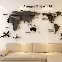 3D World Map Door Room Acrylic Decorative Wall Stickers