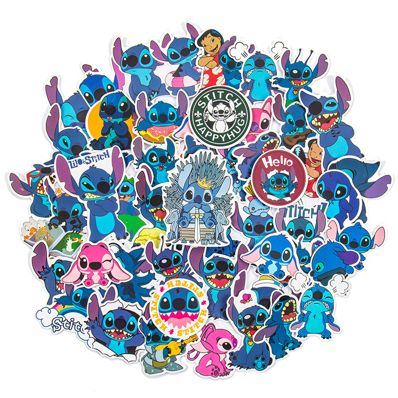 50PCS Cartoon Rick and Morty Stitch Sesame Street Waterproof Stickers Decals for Luggage Laptop Water Bottles