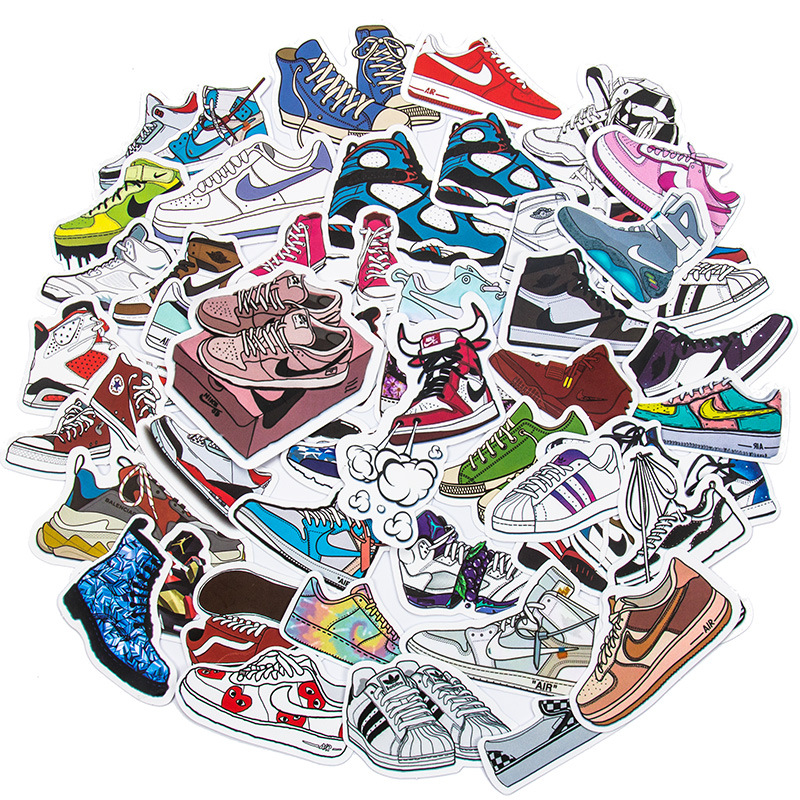 50PCS Sneakers Shoes Waterproof Stickers Decals for Luggage Laptop Water Bottles