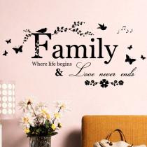 Famliy Butterfly Flower Door Room Waterproof Decorative Wall Stickers