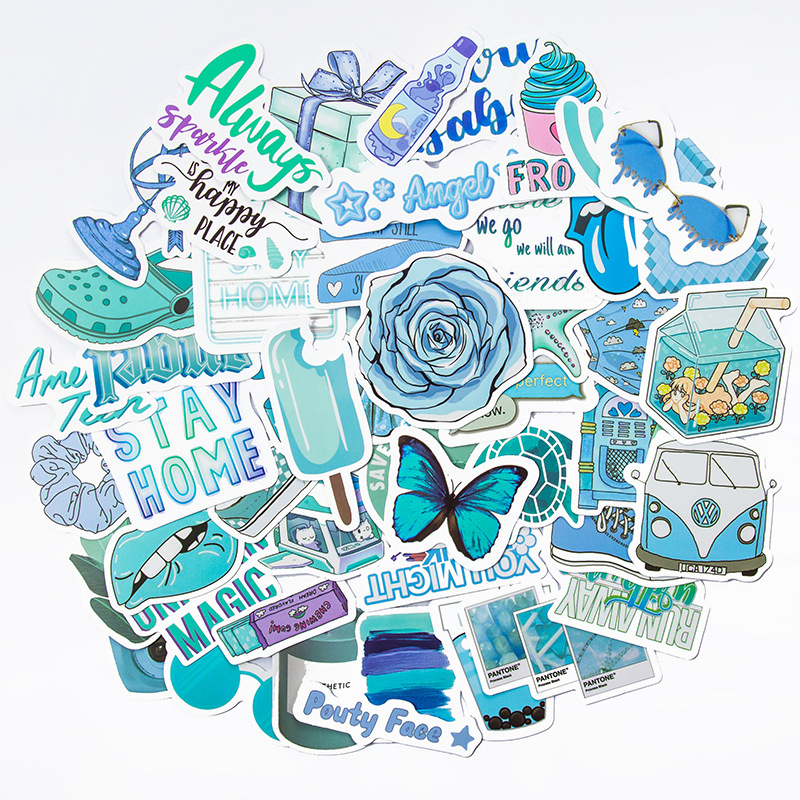 50PCS INS Style Blue Waterproof Stickers Decals for Luggage Laptop Water Bottles