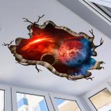2 Sheets Planet Universe Door Room Waterproof Decorative Wall Stickers