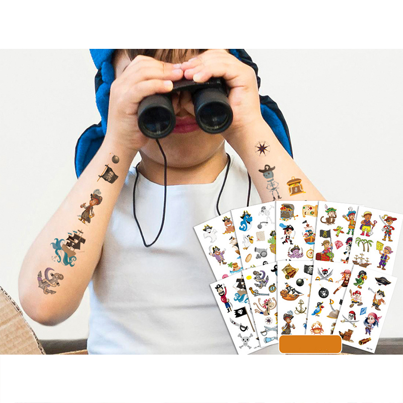 10 Sheets Pirate Party Supplies Art Temporary Tattoos for Kids
