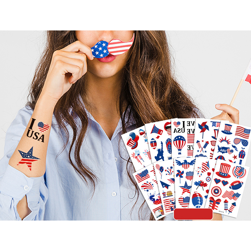 10 Sheets United States USA Independence Day Supplies Art Temporary Tattoos