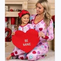 Christmas Valentine's Day Family Matching Pajamas Red Hearts Love Slogan Pink Top and Pant Pajamas Sets