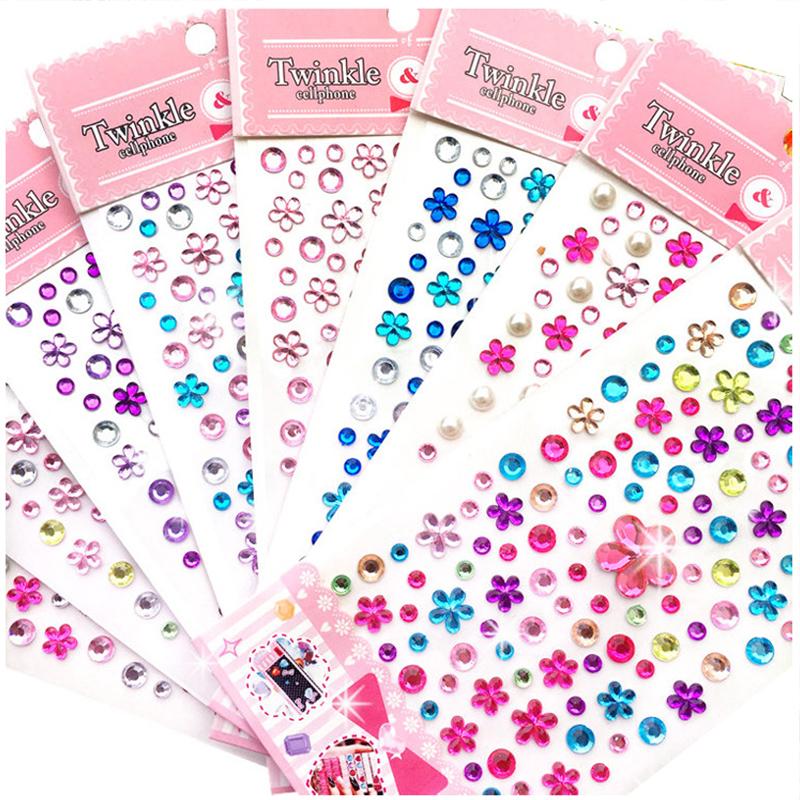 100PCS Colourful Flower DIY Crystal Rhinestone Sticker Jewels Gems Sticker Set for Kids