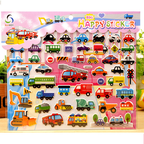 4 Sheets Engineering Vehicles Cars Ships Airplanes 3D Foam Puffy Sticker for Kids Toddler