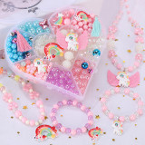 500PCS DIY Necklace Bracelet Colorful Rainbow Horse Beads Heart-shaped Jewelry BoxSet Making Kit for Kids Gifts