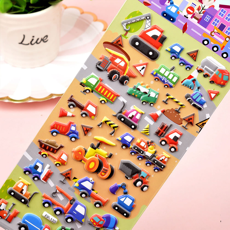 3 Sheets Engineering Vehicles Cars Ships Airplanes 3D Foam Puffy Sticker for Kids Toddler