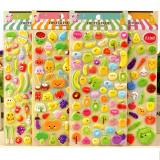 4 Sheets Cartoon Fruits Watermelon 3D Foam Puffy Sticker for Kids Toddler