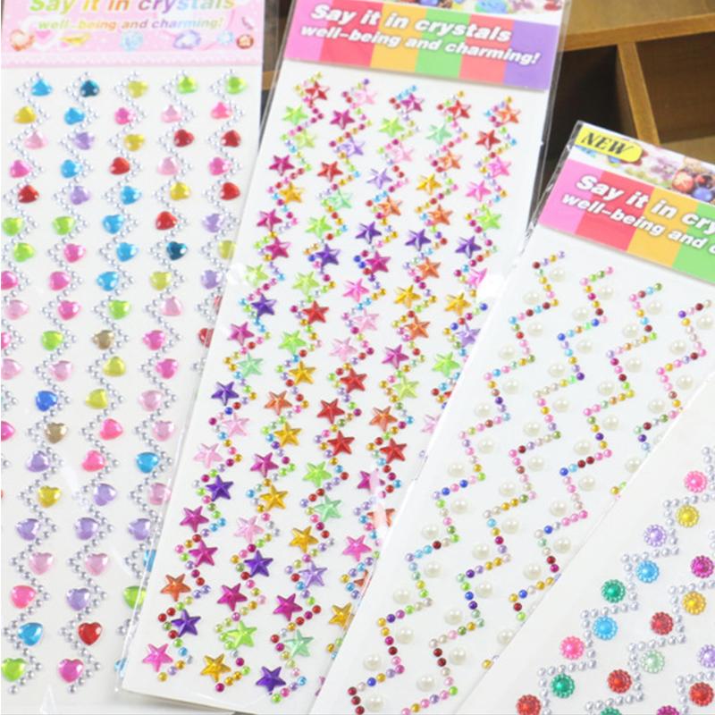 4 Sheets Stars Hearts DIY Crystal Rhinestone Sticker Jewels Gems Sticker Set for Kids