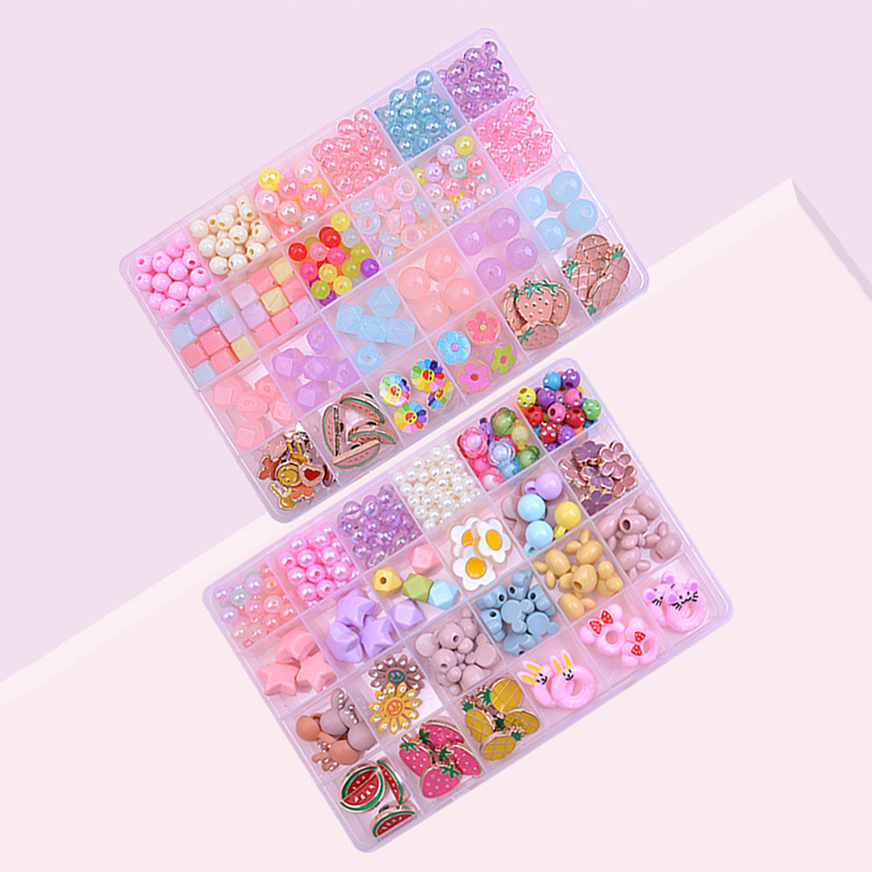 300PCS DIY Bracelet Colorful Flower Fruit Beads 24 Compartments PVC BoxSetJewelry Making Kit for Kids Gifts