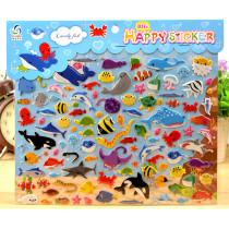 4 Sheets Cartoon Whale Octopus 3D Foam Puffy Sticker for Kids Toddler