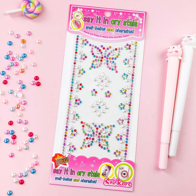 2 Sheets Butterfly Crown DIY Crystal Rhinestone Sticker Jewels Gems Sticker Set for Kids