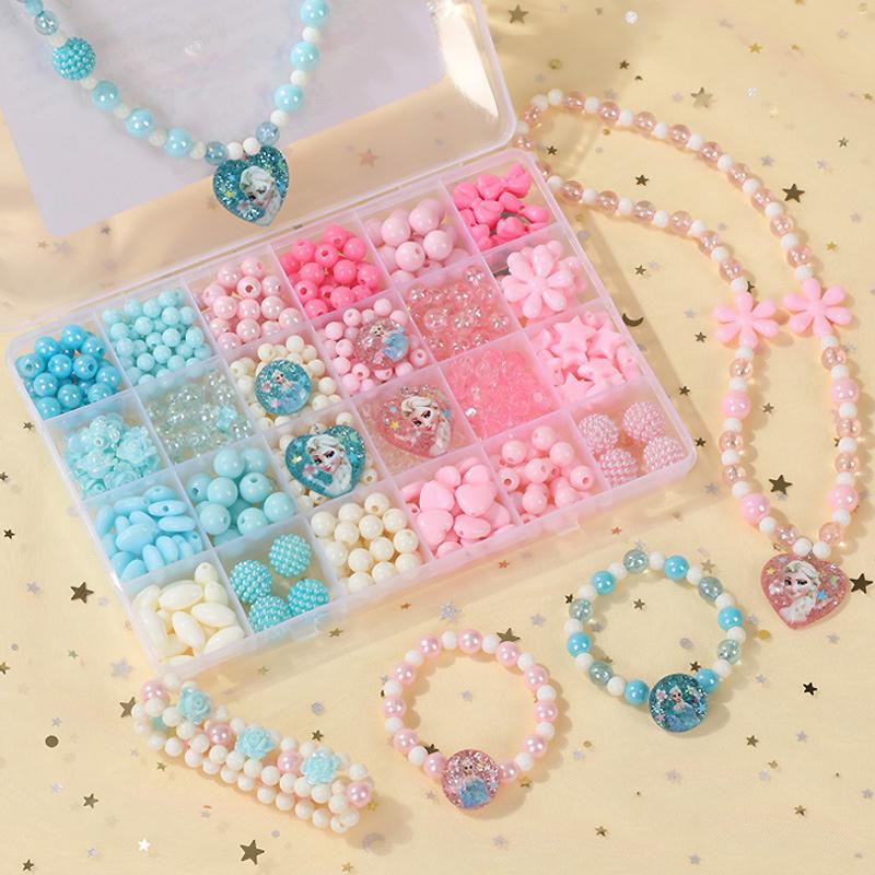 500PCS DIY Bracelet Colorful Frozen Princess Beads 24 Compartments PVC BoxSetJewelry Making Kit for Kids Gifts