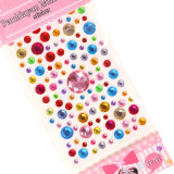 3 Sheets Colourful Flowers Hearts Circles DIY Crystal Rhinestone Sticker Jewels Gems Sticker Set for Kids
