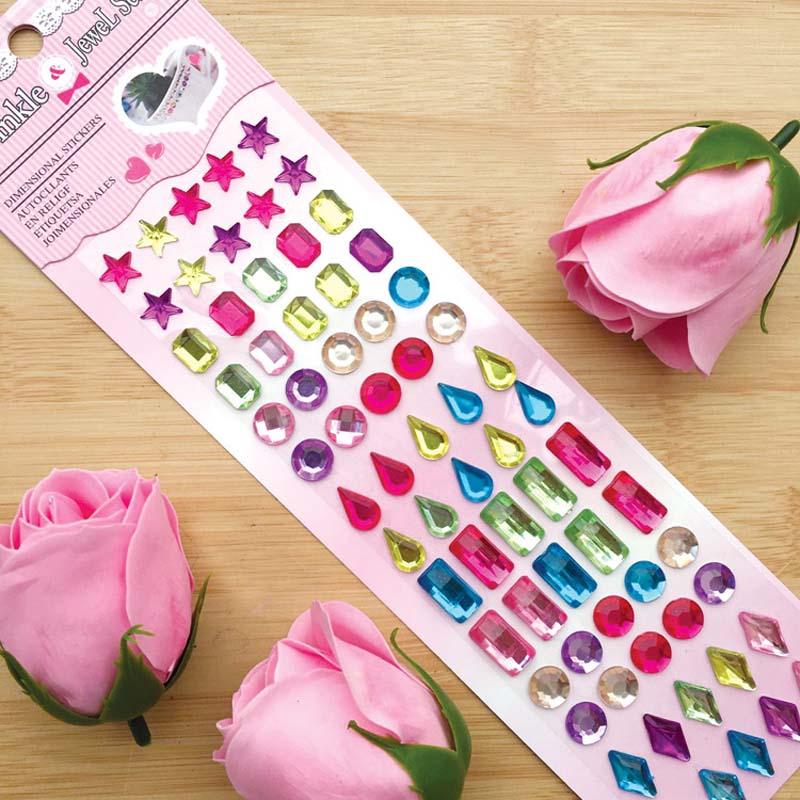 75PCS Colourful Drop Shape Pearls DIY Crystal Rhinestone Sticker Jewels Gems Sticker Set for Kids