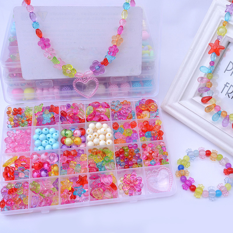 520PCS DIY Bracelet Colorful Crystal Pearl Beads 24 Compartments PVC BoxSetHeart Jewelry Making Kit for Kids Gifts