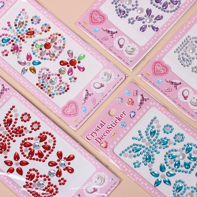 4 Sheets Butterfly Crowns DIY Crystal Rhinestone Sticker Jewels Gems Sticker Set for Kids