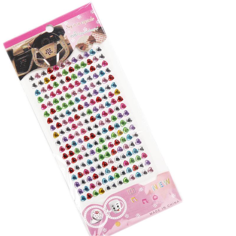 5 Sheets Colorful Hearts Flower Stars Circles DIY Crystal Rhinestone Sticker Jewels Gems Sticker Set for Kids
