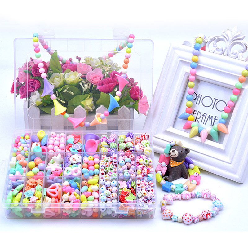 1000PCS DIY Bracelet Colorful Butterflies Flowers Beads 24 Compartments PVC BoxSetJewelry Making Kit for Kids Gifts