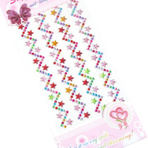 2 Sheets Wave Stars DIY Crystal Rhinestone Sticker Jewels Gems Sticker Set for Kids