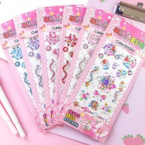 3 Sheets Colourful Heart Shell Flower DIY Crystal Rhinestone Sticker Jewels Gems Sticker Set for Kids