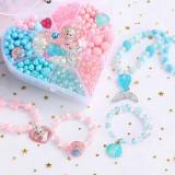 500PCS DIY Necklace Bracelet Frozen Princess Beads Heart-shaped Jewelry BoxSet Making Kit for Kids Gifts