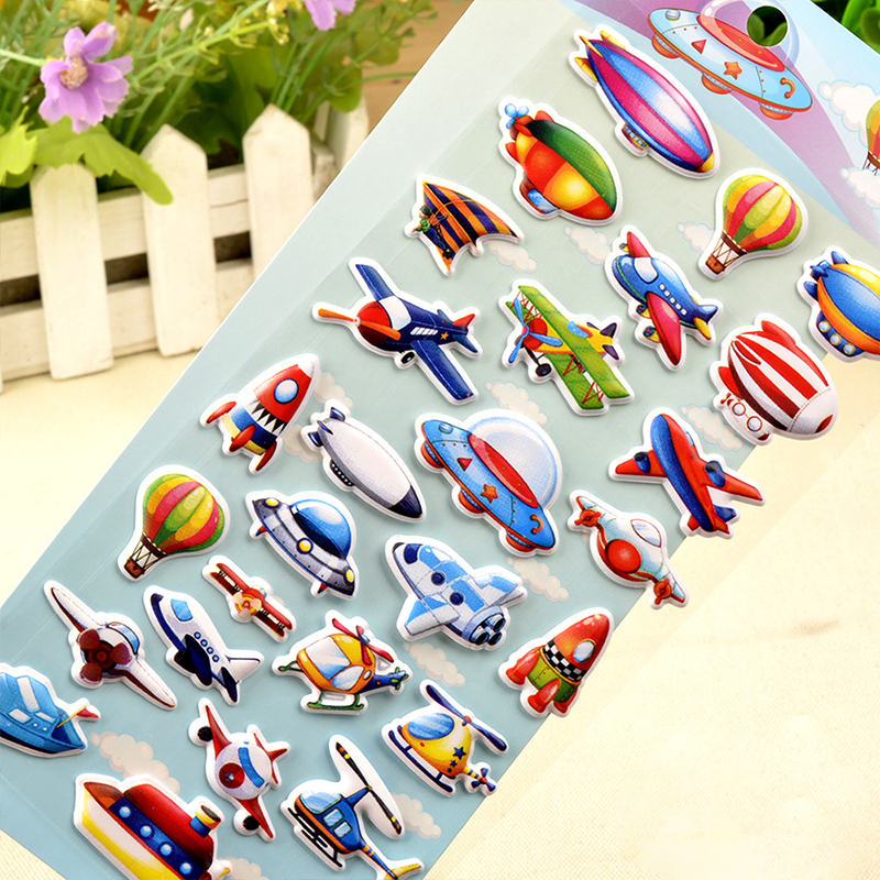 5 Sheets Aircraft Flying Vehicles 3D Foam Puffy Sticker for Kids Toddler