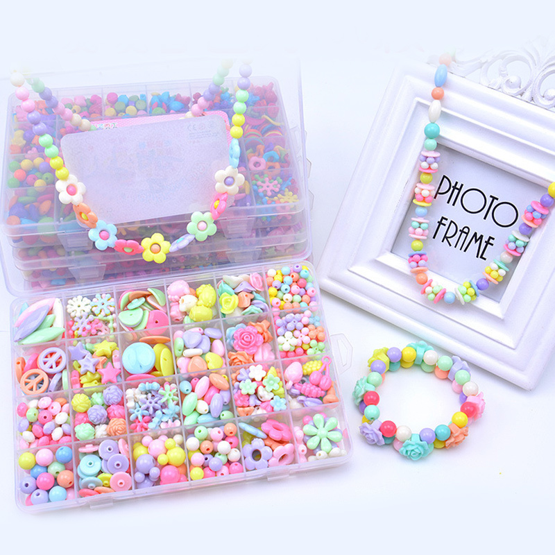 450PCS DIY Bracelet Colorful Flower Beads 24 Compartments PVC BoxSetJewelry Making Kit for Kids Gifts