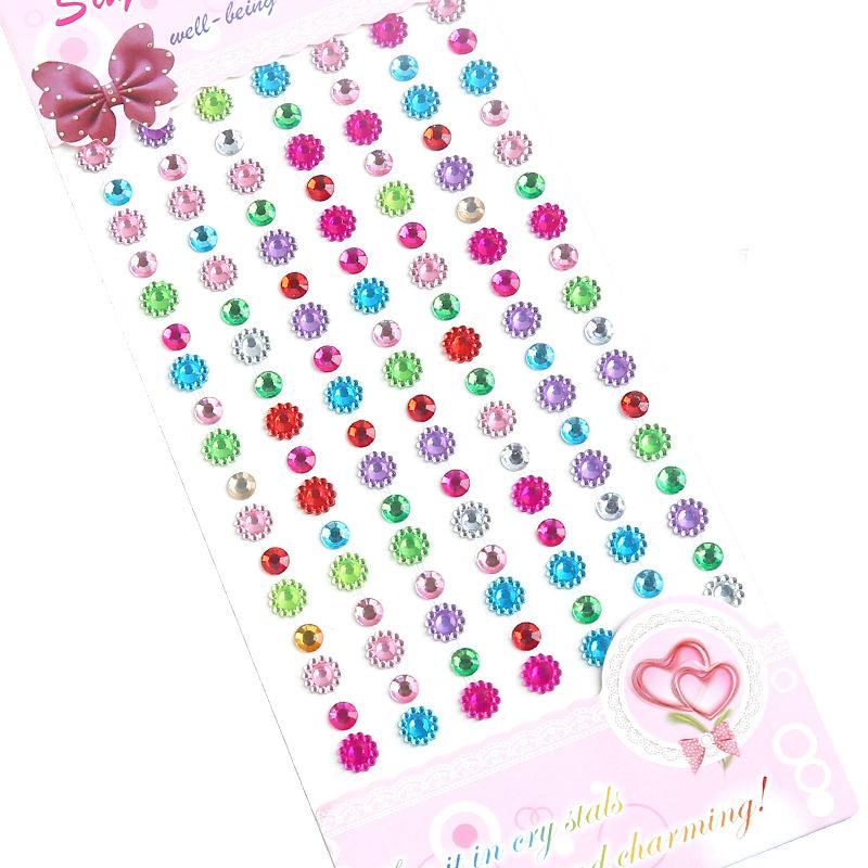2 Sheets Colorful Pearl Geometry DIY Crystal Rhinestone Sticker Jewels Gems Sticker Set for Kids