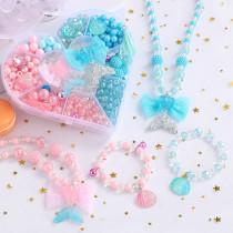 500PCS DIY Necklace Bracelet Sea Tail Fish Beads Heart-shaped BoxSet Mermaid Jewelry Making Kit for Kids Gifts
