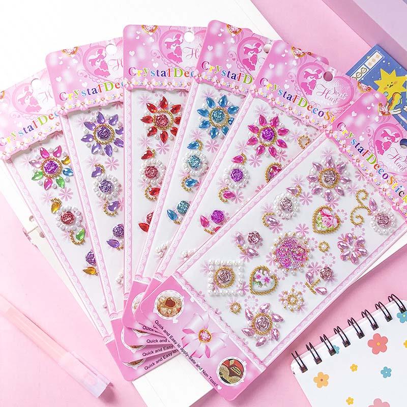 3 Sheets Colourful Heart Gem Sunflower DIY Crystal Rhinestone Sticker Jewels Gems Sticker Set for Kids