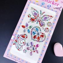 5 Sheets Butterfly Crowns Moon DIY Crystal Rhinestone Sticker Jewels Gems Sticker Set for Kids