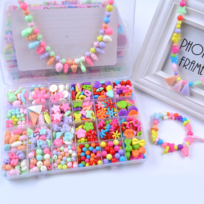 500PCS DIY Bracelet Colorful Heart Star Beads 24 Compartments PVC BoxSetHeart Jewelry Making Kit for Kids Gifts