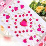 100PCS Colourful Heart DIY Crystal Rhinestone Sticker Jewels Gems Sticker Set for Kids