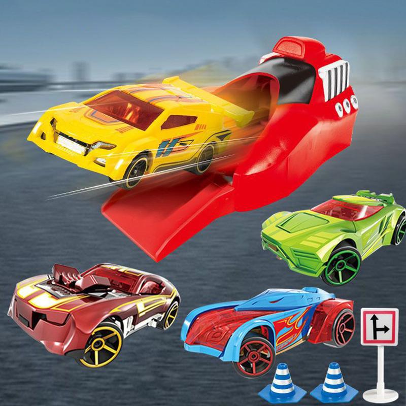 4PCS Alloy Cartoon Catapult Car Racing Pull Back Car Model Toy Set for Kids