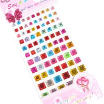 4 Sheets Geometry Flower Heart DIY Crystal Rhinestone Sticker Jewels Gems Sticker Set for Kids