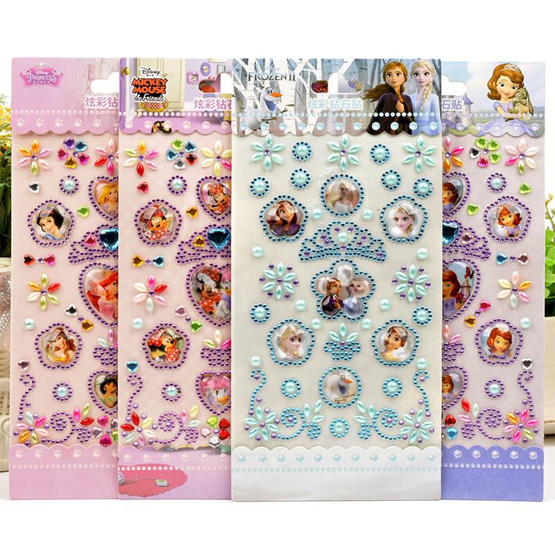 100PCS Disney Crown Princess DIY Crystal Rhinestone Sticker Jewels Gems Stickers Set for Kids