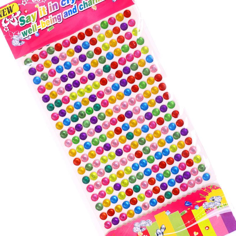 6 Sheets Colourful Circles DIY Crystal Rhinestone Sticker Jewels Gems Sticker Set for Kids
