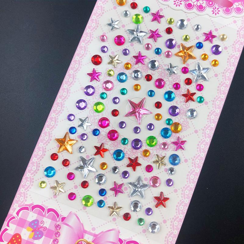 50PCS Sheets Heart Crowns DIY Crystal Rhinestone Sticker Jewels Gems Sticker Set for Kids